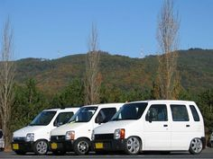 white triplets Wagon R, Kei Car, Triplets, Custom Cars, Japanese, Vehicles, Classic, Derby, Car Tuning