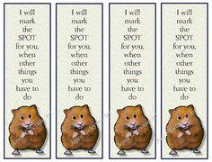 Printable Bookmark CUTE Hamster Little Verse by FreshAirPrintables