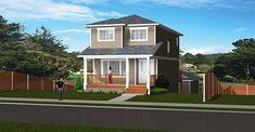 Plan 20 ft wide with Walkout - Detached Garage, 3 bedrooms and baths. Also features a basement rental suite. Open Basement, Basement House Plans, Walkout Basement, Two Storey House Plans, Front Verandah, Duplex House Plans, Narrow House, Storey Homes, Detached Garage