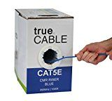 trueCABLE Cat5E Bulk 1000ft Blue Riser (CMR) 24AWG 4 Pair Unshielded Twisted Pair (UTP) Solid Bare Copper Ethernet Cable 350 MHz ETL Listed