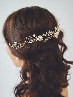 Bridal Halo Headpiece   CASSIOPEIA HAIR WREATH   Davie & Chiyo