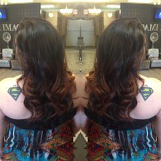 Balayage dark brown with copper highlights AM Hair Designs at Star Image