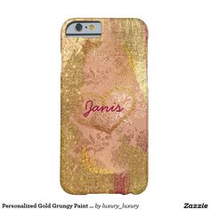 Personalized Gold Grungy Paint Shiny Glitter Case Barely There iPhone 6 Case