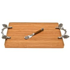 Thirstystone Pine Cone Branch Cheese Board with Spreader Serving Board, Serving Platters, Wooden Cheese Board, Cheese Boards, Pine Branch, Thanksgiving Table Settings, Joss And Main, Serveware, Bath Caddy
