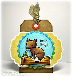 Hello Foxy! a tag made with stamps from Lawn Fawn by JammySage, via Flickr