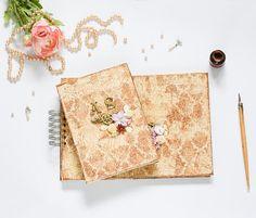Wedding set  photo album & guest book / beige brown gold /