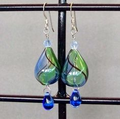 Blue and Green Blown Glass Earrings
