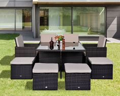 Rattan Garden Furniture Set Outdoor Cube Weave Wicker Dining Set Table Chairs