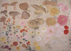 円山 応挙 Maruyama Ōkyo ( Japanese, 1733 – 1795) 百蝶図, Flowers and mushrooms