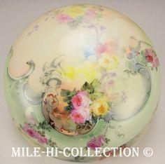 "Limoges France Hand Painted Roses 8 25"" Dresser Jewelry Box Jar   eBay"