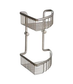 """View the Smedbo L377N 7 3/4"""" Wall Mounted Double Level Corner Basket in Brushed Nickel from the Loft Collection at FaucetDirect.com."""