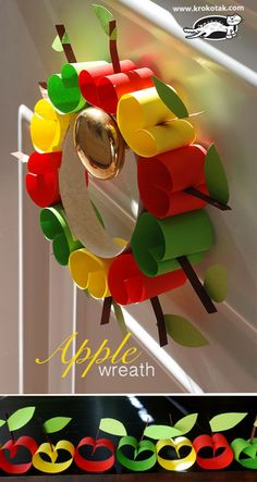 Simple Apple Craft Crafts in autumn: sweet apple garland or apple wreath Autumn Crafts, Fall Crafts For Kids, Kids Crafts, Art For Kids, Christmas Crafts, Diy Autumn, Apple Garland, Apple Wreath, Craft Activities