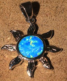 blue fire opal necklace pendant Gemstone silver jewelry Sun design $18