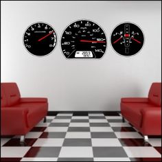 Auto car Dashboard Gauges Wall Decal Stickers Art Peel and Stick... car themed livingroom. Maybe?