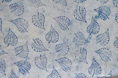 Leaf print cotton block print fabric Indigo fabric by the yard by VedahDesigns on Etsy