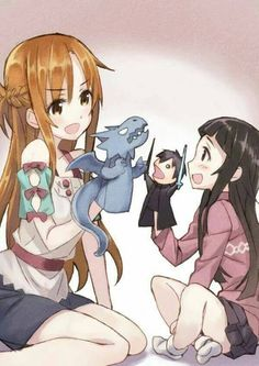 Asuna & Yui <3 Love that they have a Kirito doll fighting the dragon ^-^