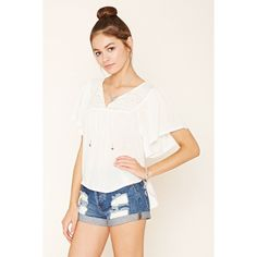 Forever 21 Women's  Gauze Peasant Top ($23) ❤ liked on Polyvore featuring tops, blouses, peasant blouse, white gauze blouse, beaded blouse, white peasant top and white embroidered blouse