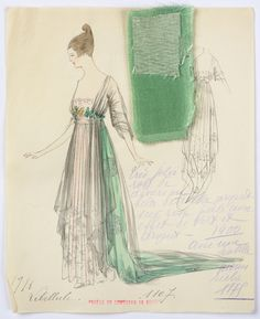 1916 House of Worth. Lithograp and watercolor on paper fashion design. Dinner dress in silver lace on pale rose with a touch of green and silver. Fabric samples accompany rendering.