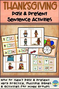 Thanksgiving is a great time to teach past and present verb tenses, or just build picture supported sentences while doing enjoyable activities! Click to see a detailed preview. Social Skills For Kids, Social Skills Activities, Fun Activities, Teaching Resources, Classroom Resources, Classroom Ideas, Classroom Community, Special Education Classroom, Autism Classroom