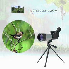 Kkmoon Outdoor 20-60X60mm Zoom Spotting Scope Multi-Coated Optical Lens 45�� with Tripod Carrying Bag for Birdwatching Hunting Camping Moutaineering Naturalist