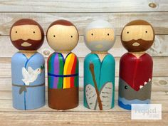 Old Testament Heroes Peg Dolls Noah Moses Joseph by PeggedByGrace Pinecone Crafts Kids, Pine Cone Crafts, Diy Crafts For Kids, Wood Peg Dolls, Clothespin Dolls, Wooden Nativity Sets, Coat Of Many Colors, Doll Painting, Old Testament