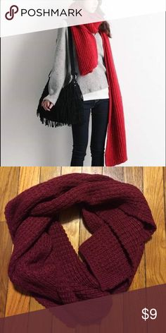 Red/Maroon Knit Scarf Approx 6' long. Deep red/maroon color. So comfortable and warm! Similar to Gap, Old Navy, Anthropologie, J. Crew, Madewell. Madewell Accessories Scarves & Wraps