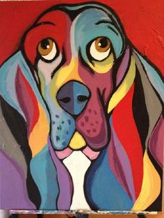 Artikel ähnlich wie Abstract Basset Hound Painting auf Etsy - My CMS Animal Paintings, Animal Drawings, Art Drawings, Car Wall Art, Basset Hound, Art Plastique, Dog Art, Art Lessons, Art Projects