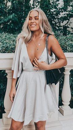 #fall #outfits Grey V-neck Dress + Black Shoulder Bag