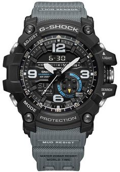 G-Shock Mudmaster Ana-Digi Black Gray - - G Shock Watches Mens, Cool Watches, Watches For Men, Sport Watches, Elegant Watches, Beautiful Watches, Casual Watches, Casio Vintage, G Shock Mudmaster