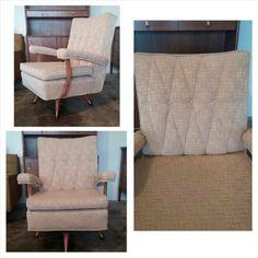 mid century rocking chair - leg idea for swivel chair conversion & diamond pattern tufted back