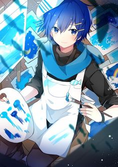 Vocaloid Creds @ 瘋狐 on Pixiv Chibi Anime, Fanarts Anime, Anime Kawaii, Manga Anime, Anime Art, Hot Anime, Vocaloid Kaito, Kaito Shion, Sakura Miku
