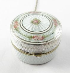 Antique-c1900-Sterling-Silver-Floral-Guilloche-Enamel-Chatelaine-Rouge-Pot