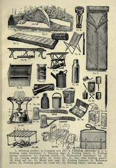 What you need for camping. Basically how it was when I was a kid. Quite a bit different now.