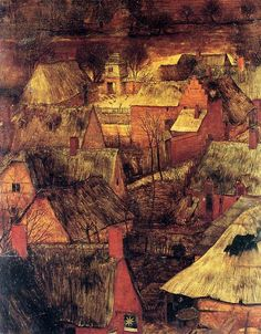 1565 Pieter Bruegel the Elder - The Gloomy Day, beginning of Spring, Detail roofs - ARTBoom Pieter Brueghel El Viejo, Tarot, Pieter Bruegel The Elder, Beginning Of Spring, Painting Prints, Art Prints, Paintings, Gloomy Day, Tumblr