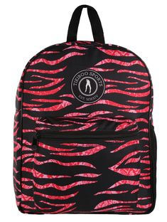 A fabulously wild print matching our leggings and shorts, Zebra Cobra Blush features a unique pink and black design. Roomy and sturdy, this backpack is ideal for the gym, school, swimming or nights away. Stand out with stripes, scales and the Tikiboo Sports logo.  The netted side pocket easily fits a large water bottle or refillable coffee cup. Adjust the soft shoulder straps for a hands-free journey and keep smaller items to hand in the front zipped pocket. Large Water Bottle, Gym Bags, Sports Logo, Coffee Cup, Shoulder Straps, Blush, Journey, Stripes, Swimming