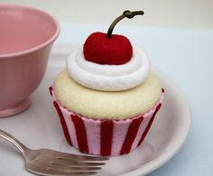 Felt Cupcake Valentine Pink Red Stripes And Cherry