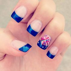 Fourth of July Nail Art With White Color Transparent