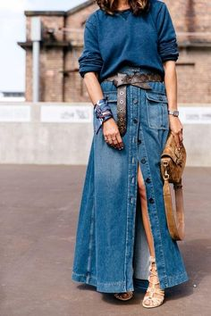 13 a chic look with a teal sweater, a blue denim maxi skirt, a brown belt, a bag and strappy shoes - Styleoholic Denim Skirt Outfits, Denim Outfit, Casual Outfits, Denim Skirts, Jean Skirts, Midi Skirts, Long Skirts, Denim Overalls, Modest Outfits