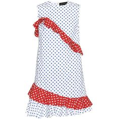 Anna October Cotton Ruffle Polka Dot Dress ($348) ❤ liked on Polyvore featuring dresses, multicoloured, multi colored polka dot dress, white polka dot dress, white cotton dress, ruffled dresses and frilly dresses