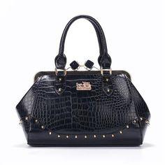Coach Crocodile Stud Logo Large Black Satchels EVS Give You The Best feeling! Michael Kors Handbags Sale, Cheap Michael Kors, Mk Handbags, Michael Kors Outlet, Fashion Handbags, Fashion Bags, Women's Fashion, Runway Fashion, Fashion Trends