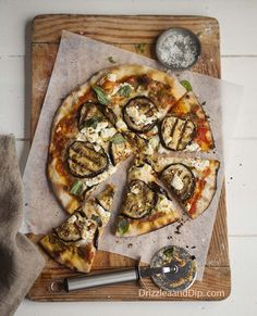 pizza with grilled aubergine, basil pesto and goats cheese