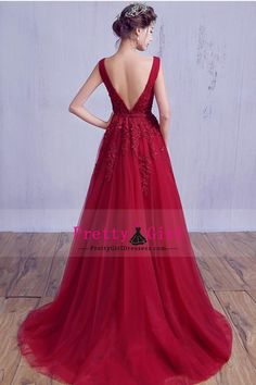 2016 Prom Dresses A Line V Neck  Court Train (30cm-50cm) Zipper Up Back With Sash/Ribbon Burgundy/Maroon
