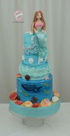 Mermaid and a Painted Whale Shark on a Cake