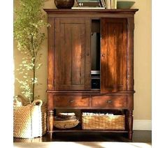 Mason Media Armoire - Rustic Mahogany finish from Pottery Barn. Shop more products from Pottery Barn on Wanelo. Armoire Redo, Tv Armoire, Antique Armoire, Corner Armoire, Corner Hutch, Corner Tv, Tv Hutch, Hutch Cabinet, Tall Tv Cabinet