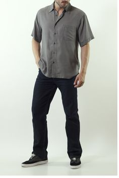 Linea Rosso Taupe and Black Camp Shirt $95