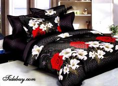 Floral White Lilies Red Rose Printed 4 Piece Comforters and Bedding Red Bedding Sets, King Size Bedding Sets, 3d Bedding, Comforter Sets, Luxury Bedding, Bed Sets, Cama Floral, Daybed Covers, Colorful Bedding