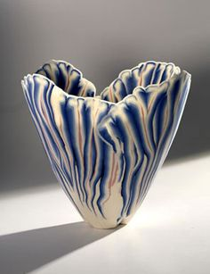 Curtis Benzle, Sculptural Form, 1985. Porcelain, hand-built with inlaid colors, 6 1/4 x 6 1/2 in. Crocker Art Museum