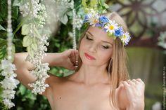 Купить Венок из полевых цветов (из фоамирана) - синий, желтый, белый, фиолетовый, сиреневый, васильки