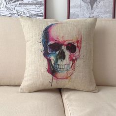 "1 square cool colorful Skull printed Pillow Case / pillow cover retro style home decor cushion case 18"" on Etsy, $19.90"