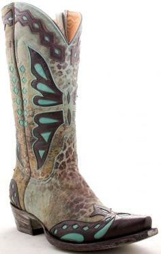 Old Gringo Monarca boots in turquoise and ocre